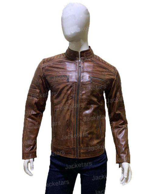Mens Biker Brown Leather Jacket