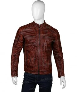 Mens Brown Stylish Cafe Racer Jacket
