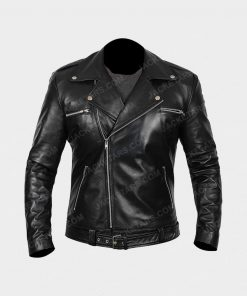 Darins Black Biker Leather Jacket