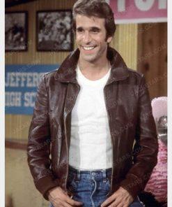 Happy Days Fonzie Brown Leather Jacket