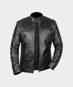 Men Black Biker Leather Cafe Racer Jacket