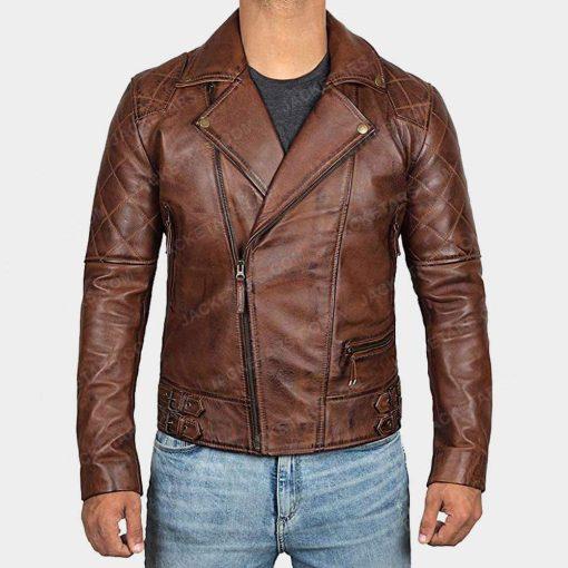 Men Brown Biker Jacket