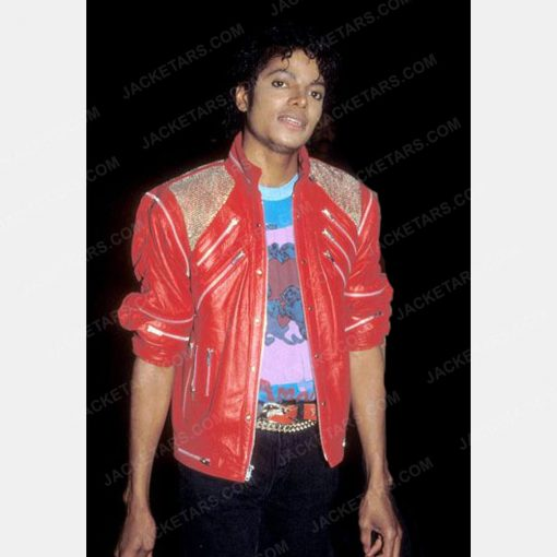 Mens Beat It Red Leather Jacket