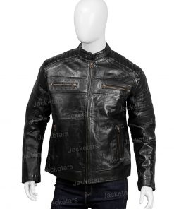 Mens Black Johnson Leather Cafe Racer Jacket