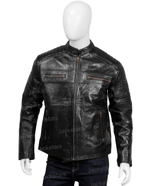 Mens Black Johnson Leather Cafe Racer Jacket