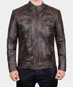 Mens Claude Biker Brown Jacket