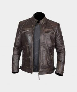 Mens Claude Biker Brown Jacket
