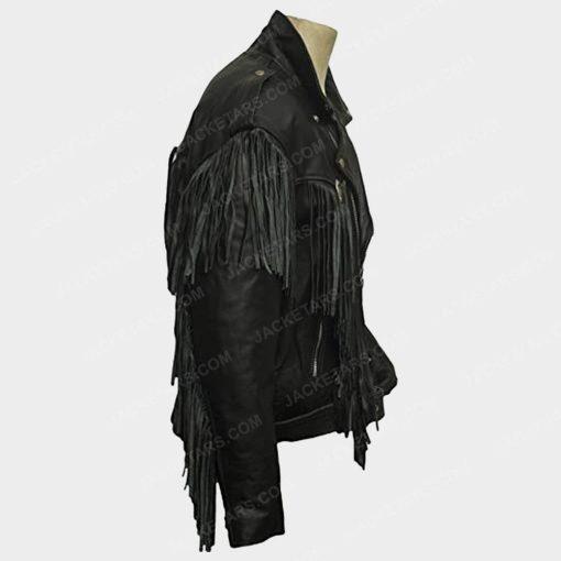 Nairobi Money Heist Fringe Black Leather Jacket