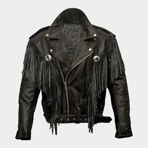 Nairobi Money Heist Fringe Leather Jacket