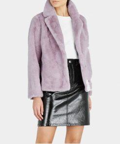 Women Purple Fur Leather Jacket