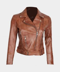Womens Brown Decrum Leather Jacket