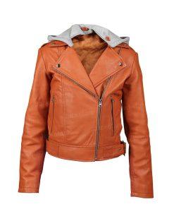 Womens Orange Olivia Leather Jacket