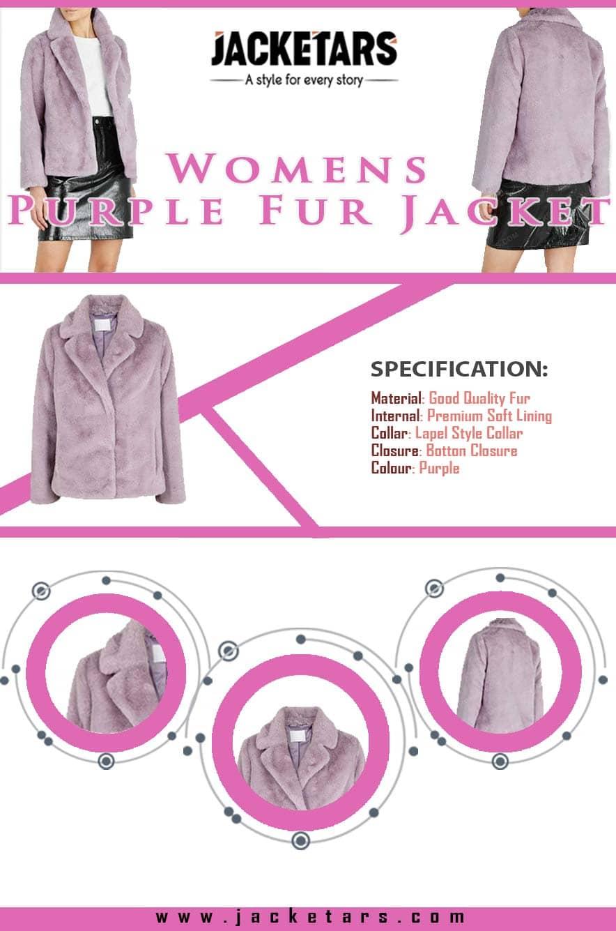 Womens Purple Fur Jacket-min