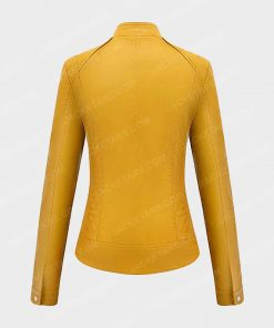 Womens Bellivera Yellow Leather Jacket