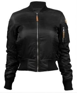 Womens Top Gun MA-1 Bomber Leather Jacket