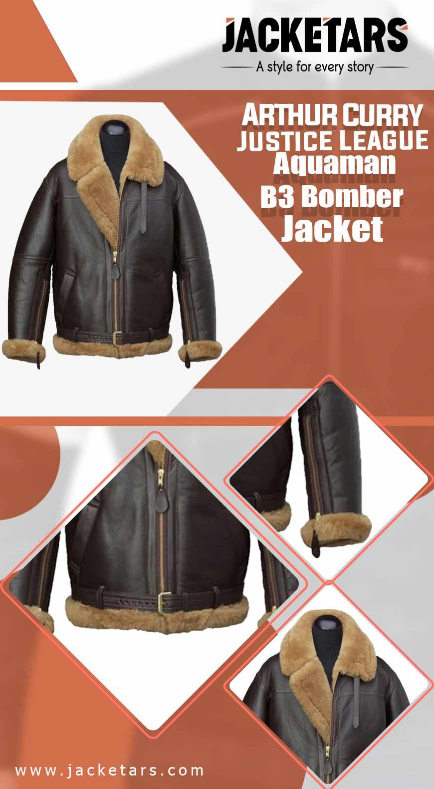Arthur Curry Justice League Aquaman B3 Bomber Jacket info