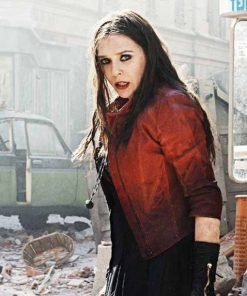 Scarlet Witch Avengers: Age Of Ultron Red Leather Jacket