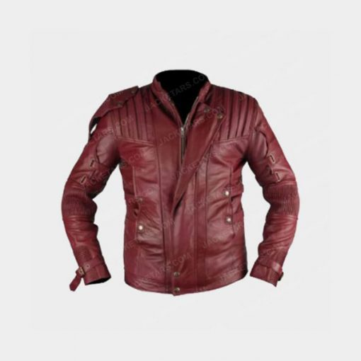 Chris Pratt Star Lord Red Leather Jacket