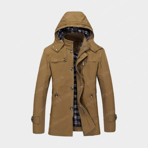 Hooded Multi Pockets Single Breasted Zip Up Brown Coat