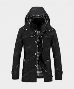 Hooded Multi Pockets Single Breasted Zip Up Coat