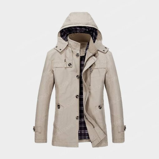 Hooded Multi Pockets Single Breasted Zip Up Off White Coat