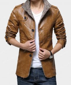 Mens Classic Motorcycle Biker Brown Leather Jacket