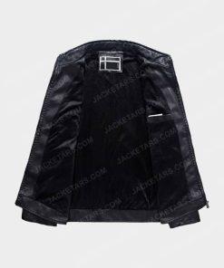 Men Motorcycle Biker Black Leather Jacket