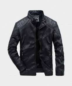 Men Motorcycle Biker Black Leather Jacket