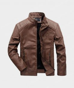 Men Motorcycle Biker Brown Leather Jacket