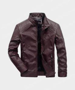 Men Motorcycle Biker Red Leather Jacket