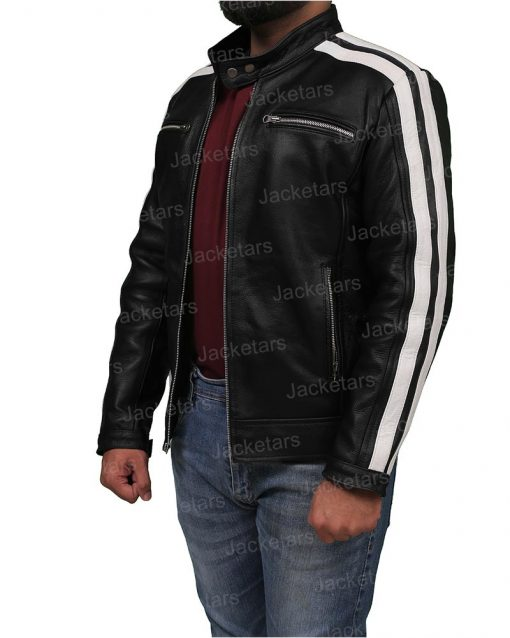 Mens Cafe Racer Black Leather Jacket Side.jpg