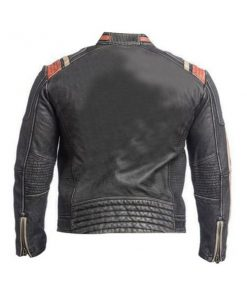 Mens Cafe Racer Motorcycle Black Jacket