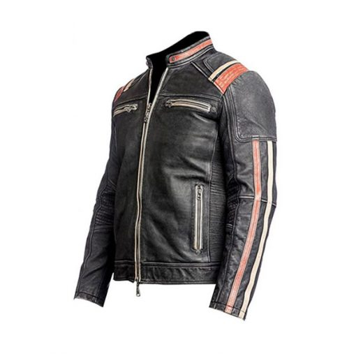Mens Cafe Racer Motorcycle Black Leather Jacket