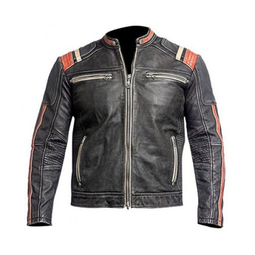 Mens Cafe Racer Motorcycle Leather Jacket