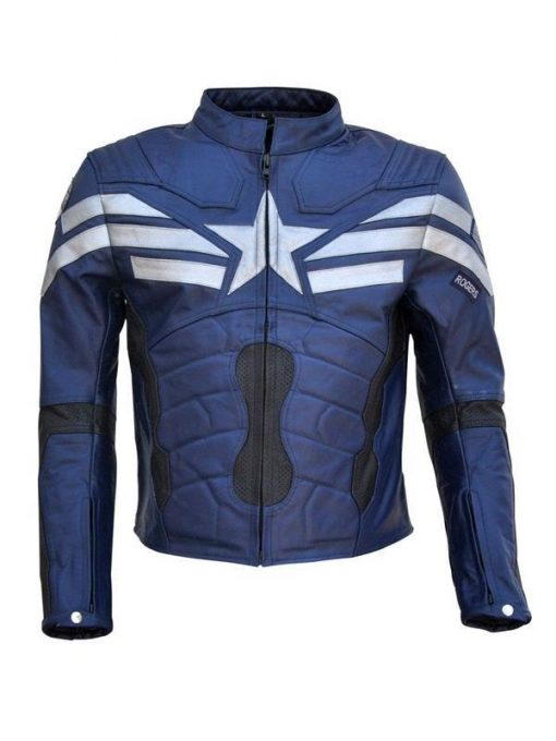 Mens Captain America Real Leather Jacket