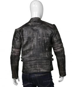 Mens Distressed Cafe Racer Black Jacket.jpg