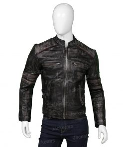 Mens Distressed Cafe Racer Jacket
