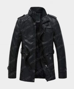 Men's High Neck Black Leather Jacket