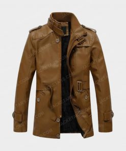 Men's High Neck Brown Leather Jacket