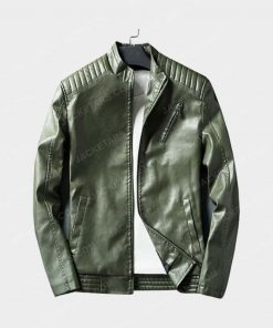 Men New Autumn and Winter Green Leather Jacket