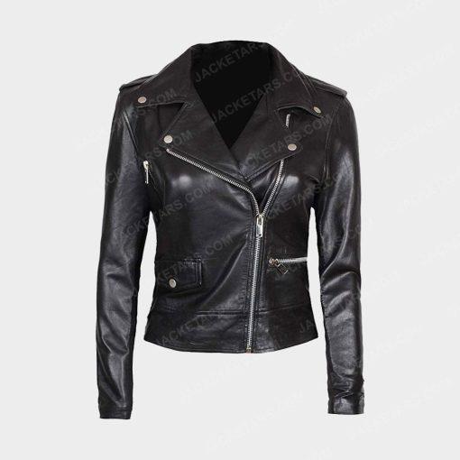 Womens Asymmetrical Black Biker Leather Jacket