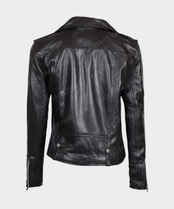 Womens Asymmetrical Biker Black Jacket