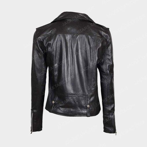 Womens Asymmetrical Biker Black Jacket