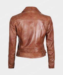 Womens Asymmetrical Biker Brown Leather Jacket