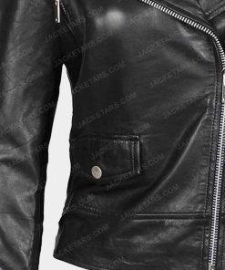 Womens Asymmetrical Biker Black Leather Jacket