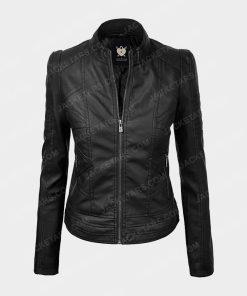 Womens Biker Black Leather Jacket