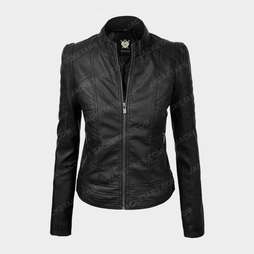 Womens Biker Black Leather Jacket