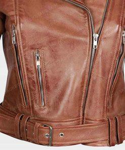 Womens Asymmetrical Biker Leather Jacket