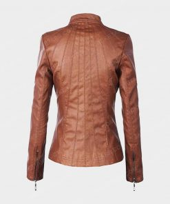 Women Biker Brown Leather Jacket