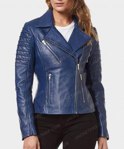 Womens Motorcycle Blue Leather Jacket